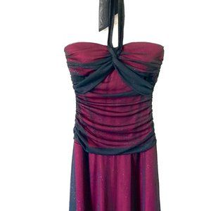 City Triangles Dark Red Floor Length Prom Dress